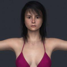 Realistic Young Bikini Girl 3D Model