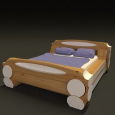 Highland-style wooden bed 3D Model