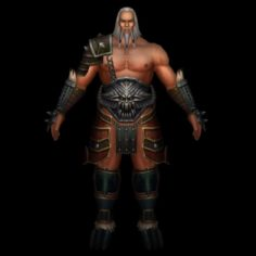 Old Warrier Man 3D Model