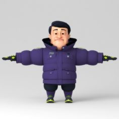 Catoon middle-aged person 3D Model