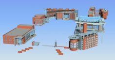 School building 088 3D Model