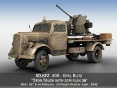 Opel Blitz with 2cm Flak 38 – DAK 3D Model
