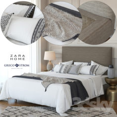 Zara Home Linen Collection Bedding + Greco Strom Bed # 7                                      3D Model