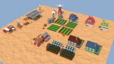 Low Poly Farm Complex 3D Model