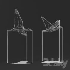 Flight Shadows decor sculpture by Artem Zakharchenko / two white birds                                      Free 3D Model