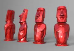 Lowpoly Moai statue 3D Model