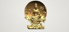 Avalokitesvara Buddha Moon Background 3D Model