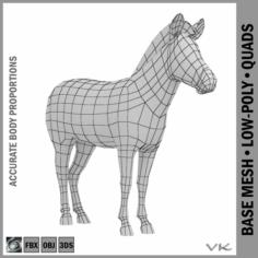 Zebra Animal Base Mesh 3D Model