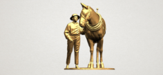 Horse with Man 01 3D Model