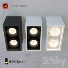 Surface-mounted luminaire CUB-DUBLE 2×8 W                                      Free 3D Model