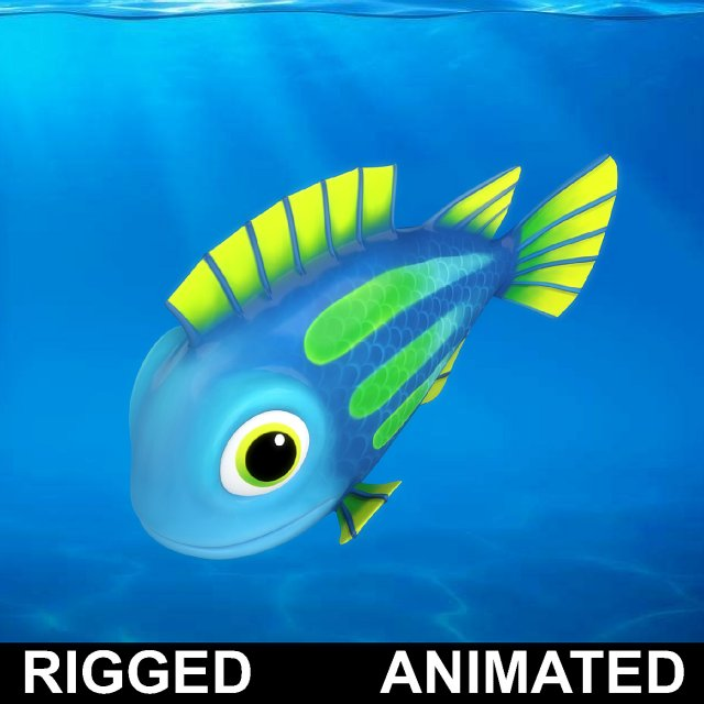 cartoon underwater scene rigged animated 3d model - 640×640