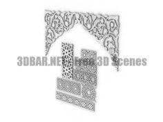 Asian decor plaster molding 2 3D Collection