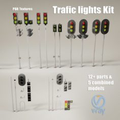 Trafic lights Kit collection of trafic lights 3D Model
