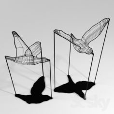 Flight Shadows decor sculpture by Artem Zakharchenko / two black birds                                      Free 3D Model