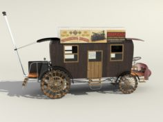 Stagecoach with steam engine 3D Model
