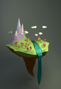 Floating island Free 3D Model