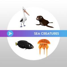 3D Sea Animal Pack 3D Model
