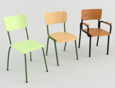 Classroom Chairs 1 3D Model