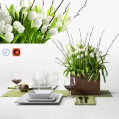 Tulips centerpiece – decorative set                                      3D Model