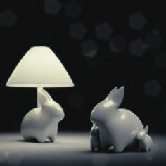 Porcelain Rabbit Table Lamp 3D Model
