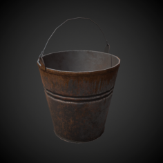 Old Bucket PBR Low Poly 3D Model