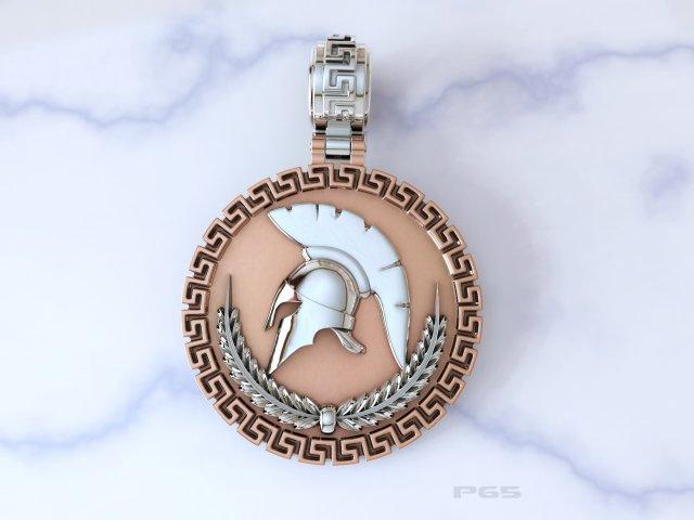 Gold Pendant Spartan helmet 3D Model