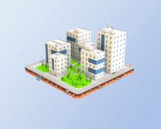 Low Poly City Block Office Buildings 3D Model
