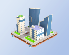 Low Poly Business Center 3D Model
