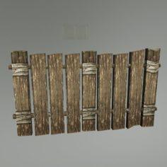 Medieval Wood Fence 01 3D Model
