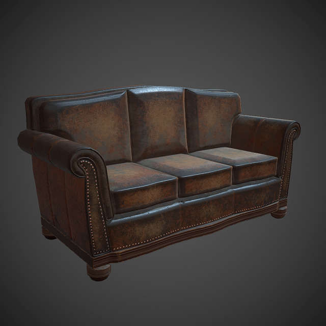 Leather Sofa PBR Low Poly 3D Model