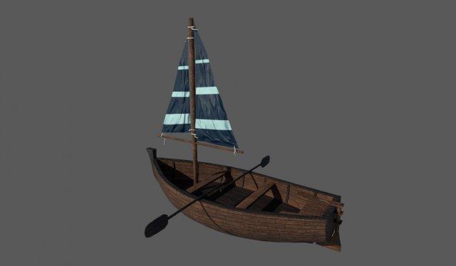 Wooden Sailling Boat 3D Model