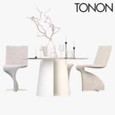 Chair and Table Tonon Twist 3D Model