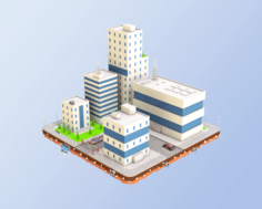 Low Poly City Block Factory Buildings 3D Model