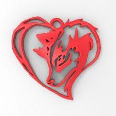 Wolf Heart pendant  3D Print Model