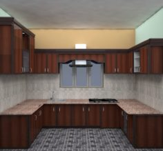 MODULAR KITCHEN WITH NICE MICA WORK 3D Model