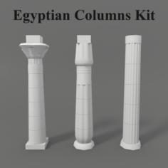 Egyptian Columns Kit 3D Model