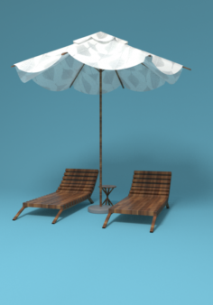 Chair and umbrella Free 3D Model