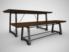 Mead Dining Table and Bench 3D Model