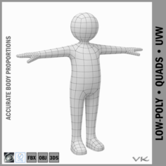 Child Stickman character 3D Model