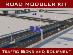 Road Pack Modular Kit – Traffic Signs and Equipmen 3D Model