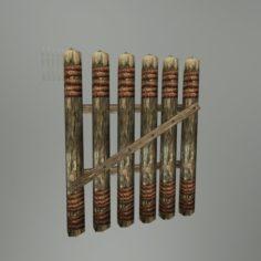 Medieval Wood Fence 02 3D Model