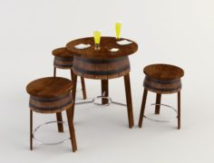 Table and Chairs – Cafe Bar 2 3D Model