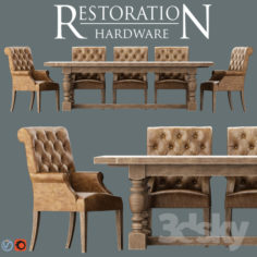 Bennett Roll-Back Armchair / 1930s French Farmhouse Rectangular Dining Table                                      3D Model