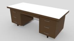 Low Poly Wooden Desk 3D Model