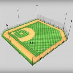 Baseball stadium arena diamond low poly 3D Model