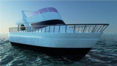 Boat and Ocean 3D Model