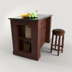 Kitchen Island with Stool Chair 3D Model