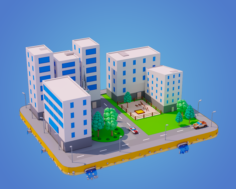 Low Poly City Block 3D Model
