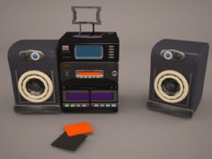 Retro Boombox Sharp 3D Model