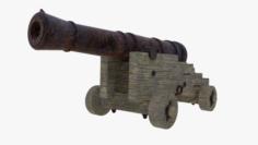 Long gun mounted on carriage